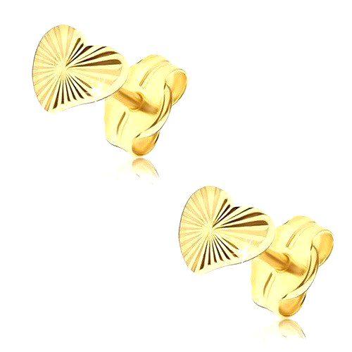 Náušnice v žltom 14K zlate - nepravidelné trblietavé srdcia