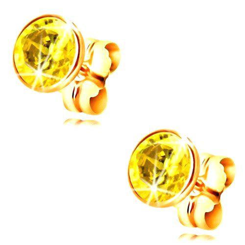 Náušnice v žltom 14K zlate - objímka so žltým okrúhlym zirkónom