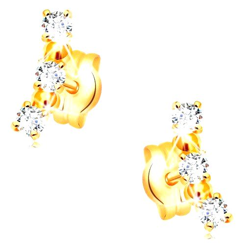 Náušnice v žltom 14K zlate - oblúk z čírych zirkónov a lesklých guličiek