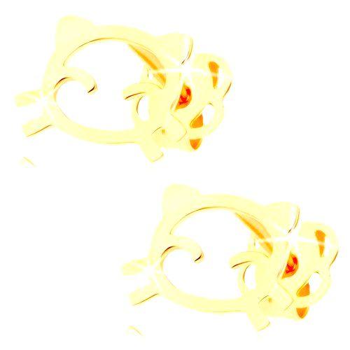 Náušnice v žltom 14K zlate - obrys mačičky s lesklým a hladkým povrchom