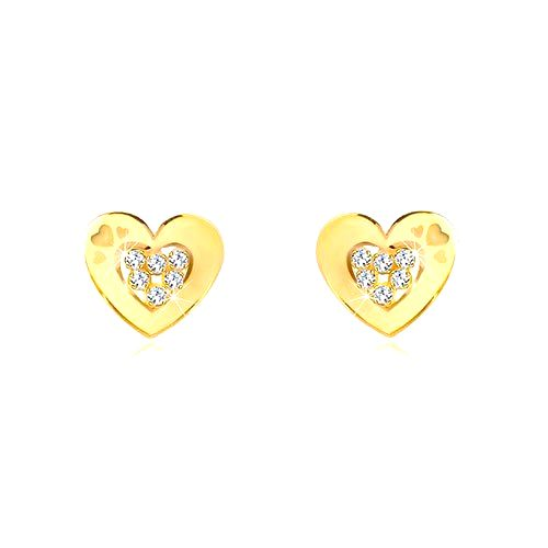 Náušnice v žltom 14K zlate - obrys srdiečka so zirkónmi uprostred