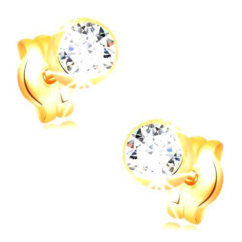 Náušnice v žltom 14K zlate - okrúhly číry zirkón v objímke