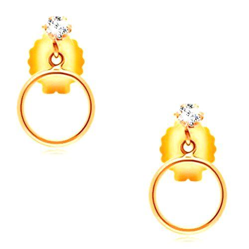 Náušnice v žltom 14K zlate - okrúhly číry zirkónik a tenká obruč
