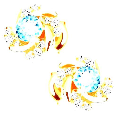 Náušnice v žltom 14K zlate - okrúhly kvet s modrým topásom a zirkónikmi