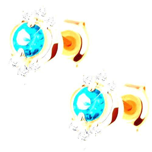 Náušnice v žltom 14K zlate - okrúhly modrý topás