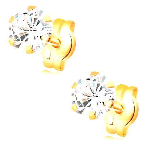 Náušnice v žltom 14K zlate - okrúhly zirkón čírej farby
