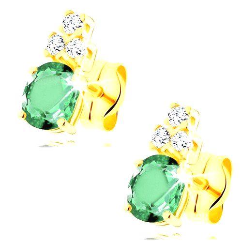 Náušnice v žltom 14K zlate - oválny zelený smaragd