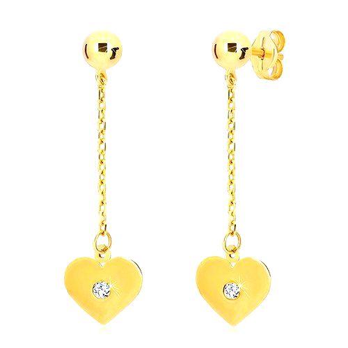 Náušnice v žltom 14K zlate - ploché srdce visiace na retiazke