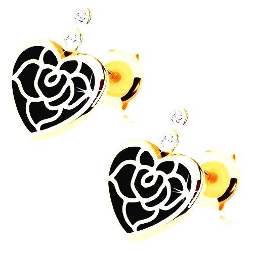 Náušnice v žltom 14K zlate - pravidelné srdce s čiernou glazúrou