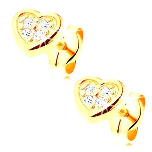 Náušnice v žltom 14K zlate - pravidelné srdiečko zdobené čírymi zirkónikmi