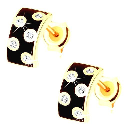 Náušnice v žltom 14K zlate - širší polkruh s glazúrou čiernej farby