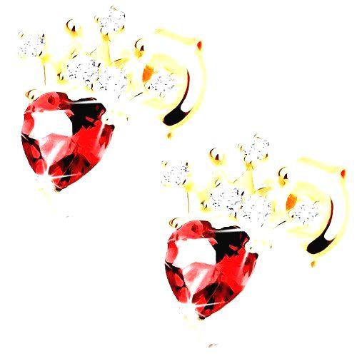 Náušnice v žltom 14K zlate - srdiečkový červený granát