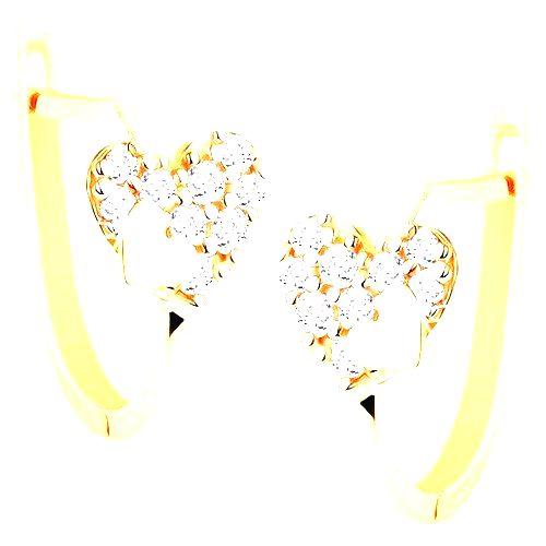 Náušnice v žltom 14K zlate - trblietavé srdce s drobným hladkým srdiečkom