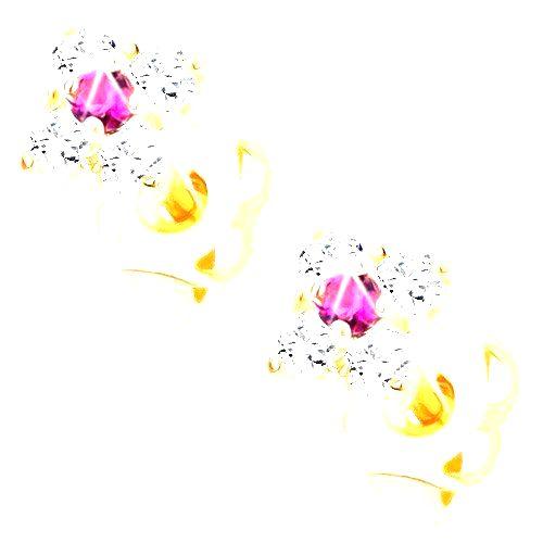 Náušnice v žltom 14K zlate - trblietavý štvorček s ružovým stredom