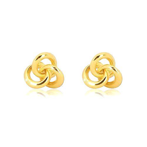Náušnice v žltom 14K zlate - tri malé lesklé prepojené prstence