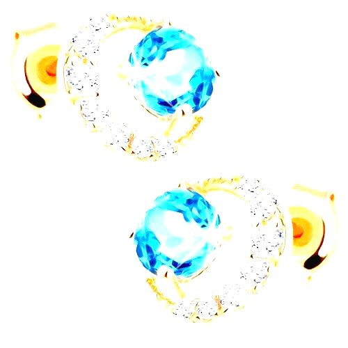 Náušnice v žltom 14K zlate - zirkónový kosák mesiaca
