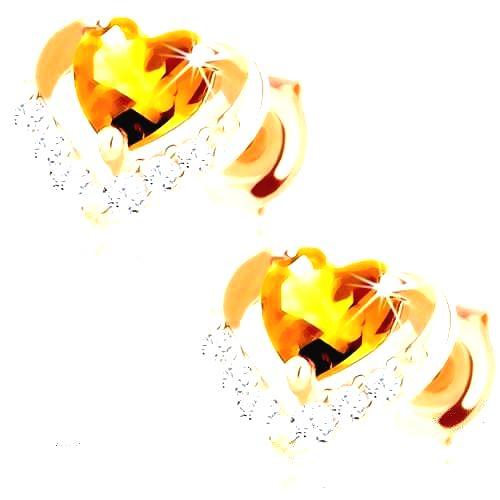Náušnice v žltom 14K zlate - žlté citrínové srdiečko v ligotavej kontúre