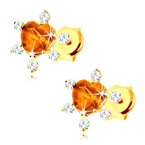 Náušnice v žltom 9K zlate - brúsené citrínové srdce
