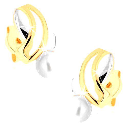 Náušnice v žltom 9K zlate - dvojfarebné pretínajúce sa línie