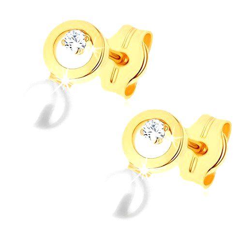 Náušnice v žltom 9K zlate - kontúra kruhu s čírym zirkónikom