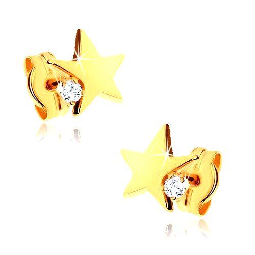 Náušnice v žltom 9K zlate - lesklá päťcípa hviezda