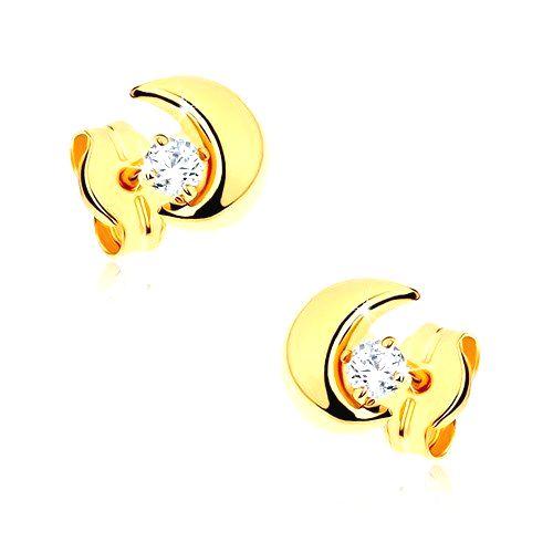 Náušnice v žltom 9K zlate - malý polmesiac s kamienkom čírej farby