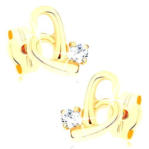 Náušnice v žltom 9K zlate - obrys nepravidelného srdca