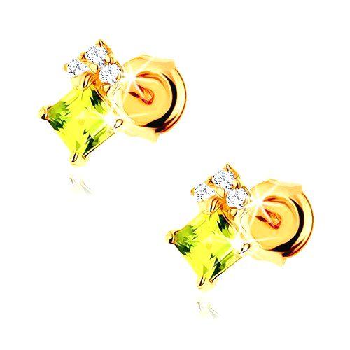 Náušnice v žltom 9K zlate - olivínový štvorček svetlozelenej farby