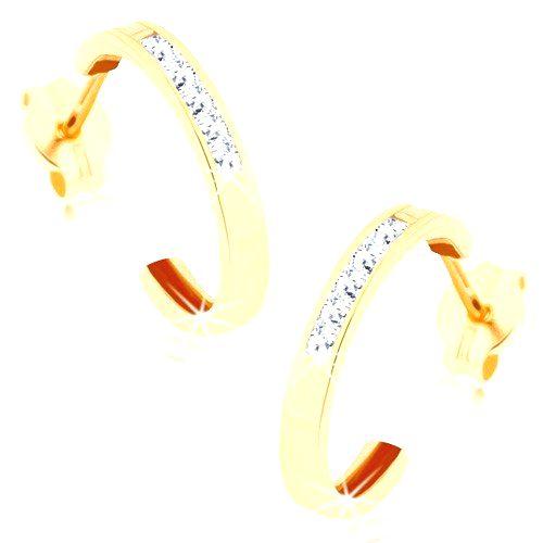 Náušnice v žltom 9K zlate - polkruh zdobený líniou čírych zirkónov