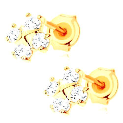 Náušnice v žltom 9K zlate - štyri okrúhle zirkóny