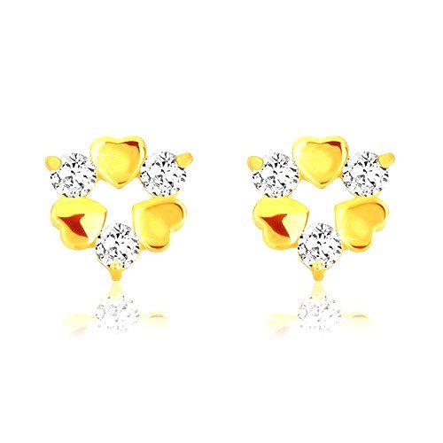 Náušnice v žltom 9K zlate - tri symetrické srdiečka a tri trblietavé zirkóny