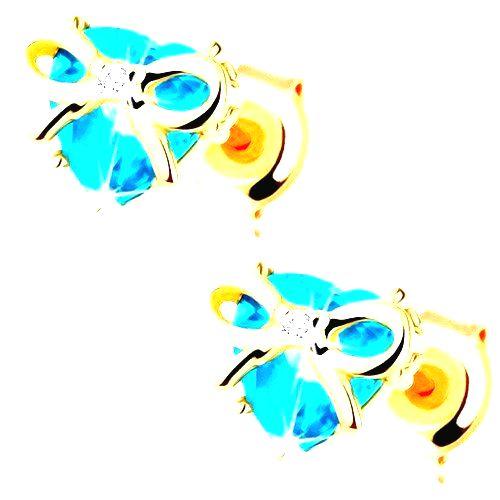 Náušnice v žltom 9K zlate - vybrúsené topásové srdce