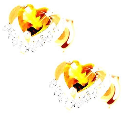 Náušnice v žltom 9K zlate - žlté citrínové srdiečko v ligotavej kontúre