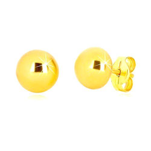 Náušnice v žltom zlate 375 - jednoduchá polguľa s lesklým povrchom