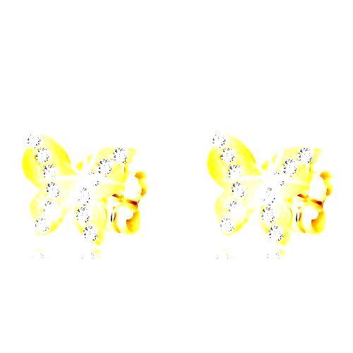 Náušnice v žltom zlate 375 - lesklý motýľ