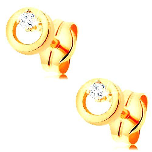 Náušnice v žltom zlate 585 - drobný číry zirkón v malej lesklej obruči