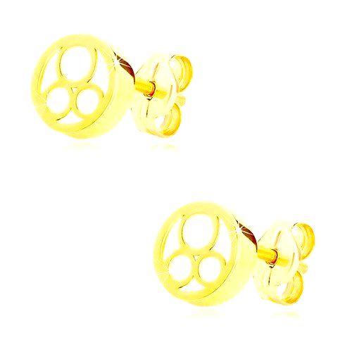 Náušnice v žltom zlate 585 - krúžok s naturálnou perleťou a troma prstencami