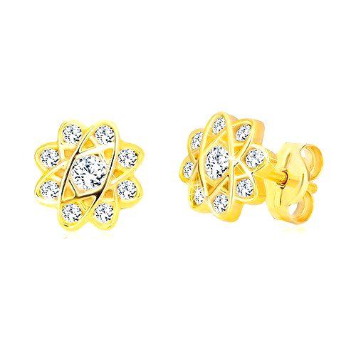Náušnice v žltom zlate 585 - kvet s oválnymi líniami a zirkónmi