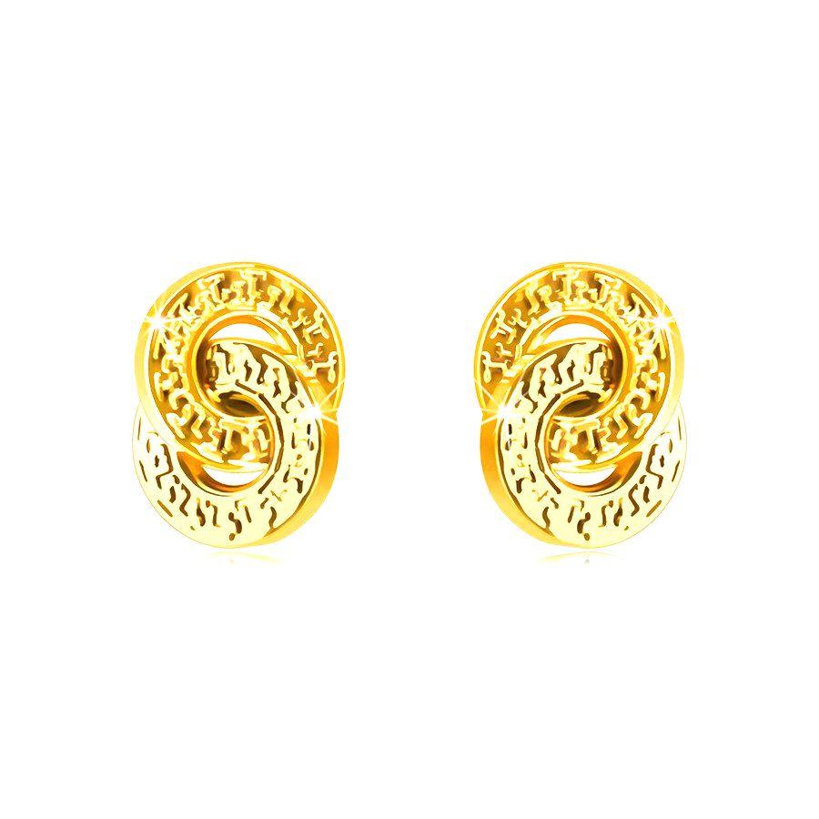 Náušnice z 9K zlata - dva prepletené kruhy s ozdobným ryhovaním
