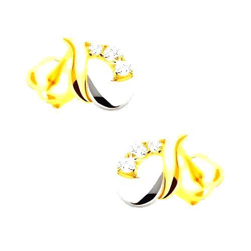 Náušnice z 9K zlata - lesklá slza z bieleho a žltého zlata