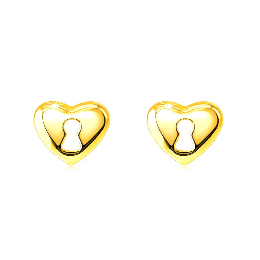 Náušnice z 9K zlata - srdiečko s výrezom kľúčovej dierky