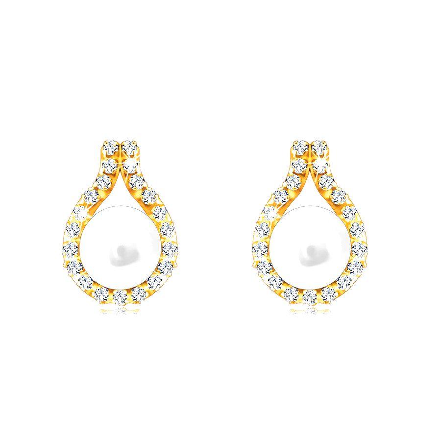 Náušnice z 9K zlata - zirkónová kontúra slzy zdobená kultivovanou bielou perlou