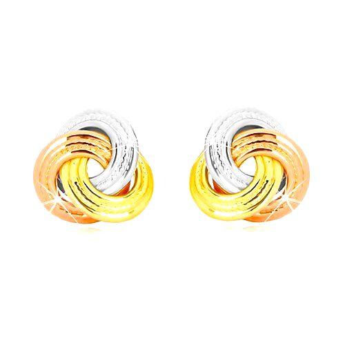 Náušnice z kombinovaného 14K zlata - trojfarebný uzol