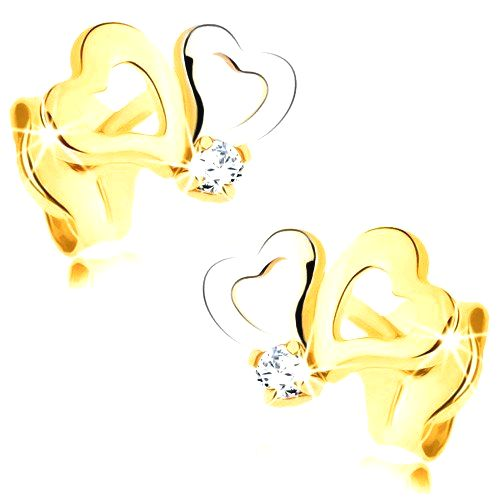 Náušnice z kombinovaného zlata 585 - kontúry asymetrických srdiečok
