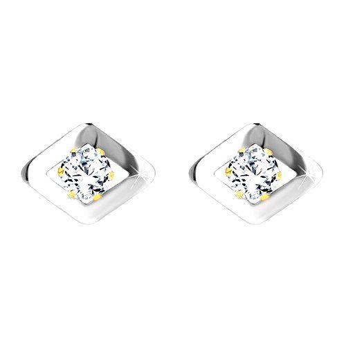 Náušnice z kombinovaného zlata 585 - kosoštvorec v bielom zlate a zirkón