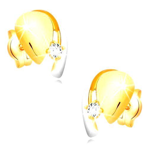 Náušnice z kombinovaného zlata 585 - slza s čírym zirkónom a líniou bieleho zlata
