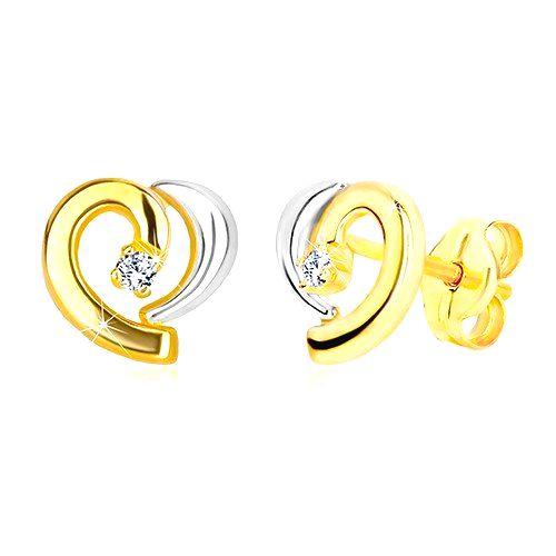 Náušnice zo 14K kombinovaného zlata - kontúra nesúmerného srdca