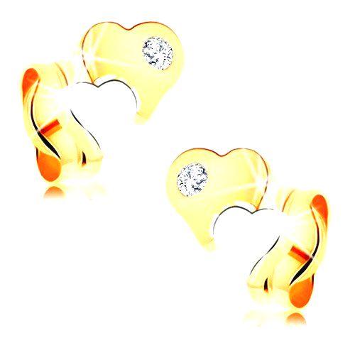 Náušnice zo 14K zlata - dvojfarebné lesklé srdiečka s čírym diamantom