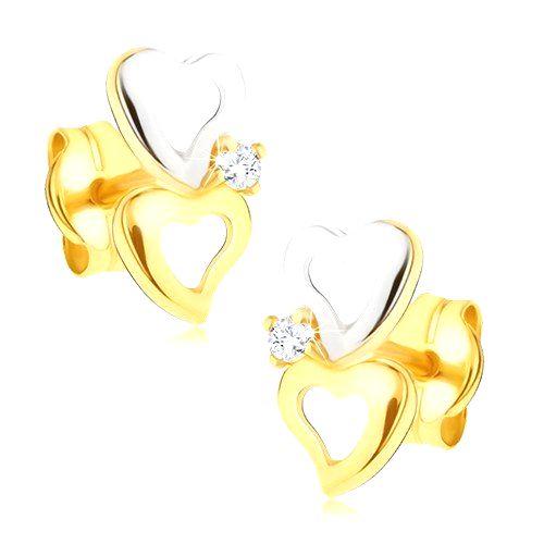 Náušnice zo 14K zlata  - dvojfarebné obrysy sŕdc