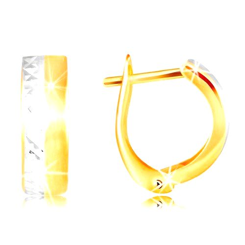 Náušnice zo 14K zlata - hladký matný pás žltej farby